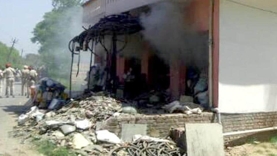 The scrap shop where a blast took place near Gurdaspur  on Saturday, April 15.