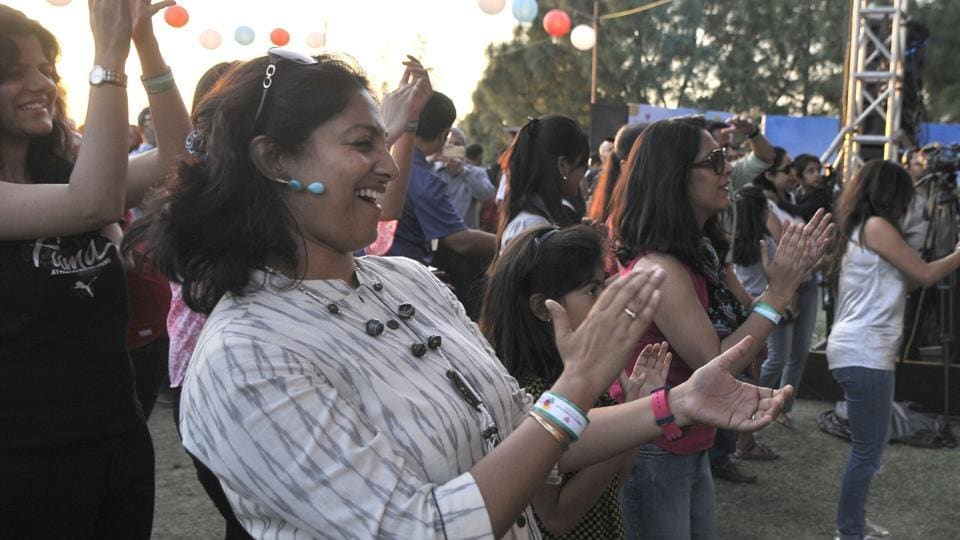 Audience at the Kasauli Rhythm and Blues music festival in Himachal Pradesh on Saturday, April 15. (Ravi Kumar/HT)