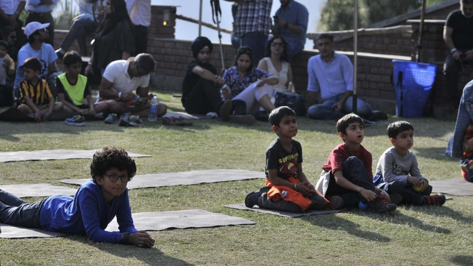 Kids among the audience at the Kasauli Rhythm and Blues music festival in Himachal Pradesh on Saturday, April 15. (Ravi Kumar/HT)