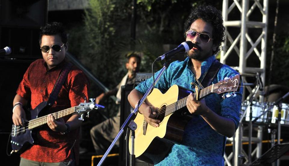A band in action at the Kasauli Rhythm and Blues music festival in Himachal Pradesh on Saturday, April 15. (Ravi Kumar/HT)