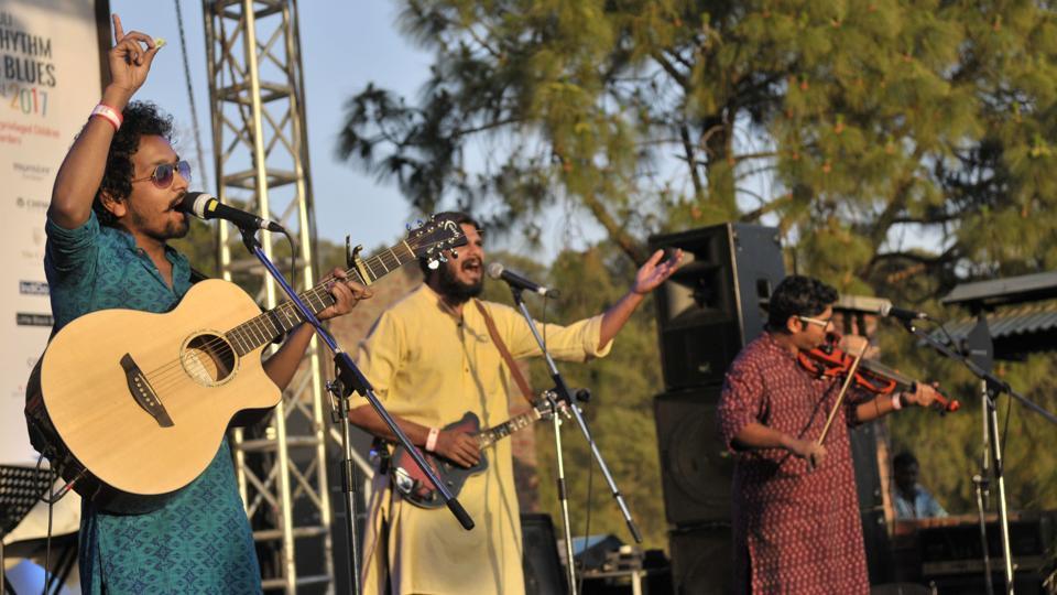 A band performing at the Kasauli Kasauli Rhythm and Blues music festival in Himachal Pradesh on Saturday, April 15. (Ravi Kumar/HT)