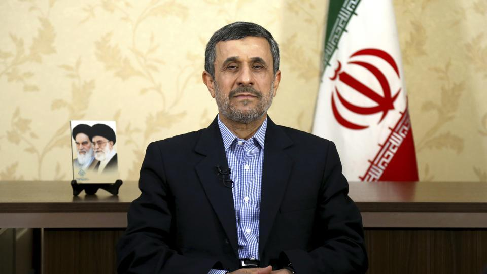 Former Iranian President Mahmoud Ahmadinejad gives an interview to The Associated Press at his office, in Tehran, Iran, Saturday, April 15, 2017. Ahmadinejad says he does not view recent U.S. missile strikes on ally Syria as a message for Iran, which he called a