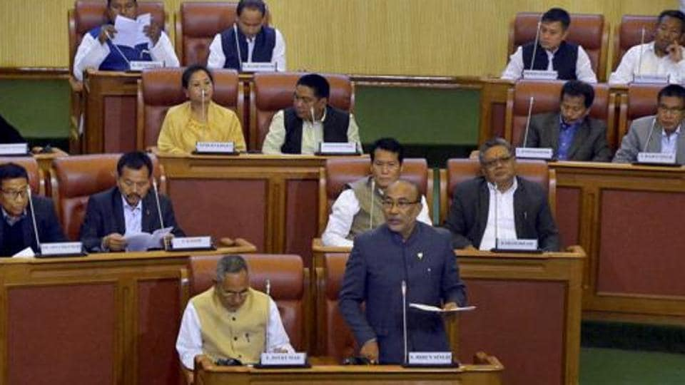 Manipur chief minister N Biren Singh speaks in the assembly to prove his party's majority in Imphal.
