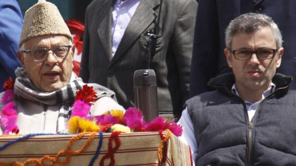 National Conference chief Farooq Abdullah with son Omar Abdullah.