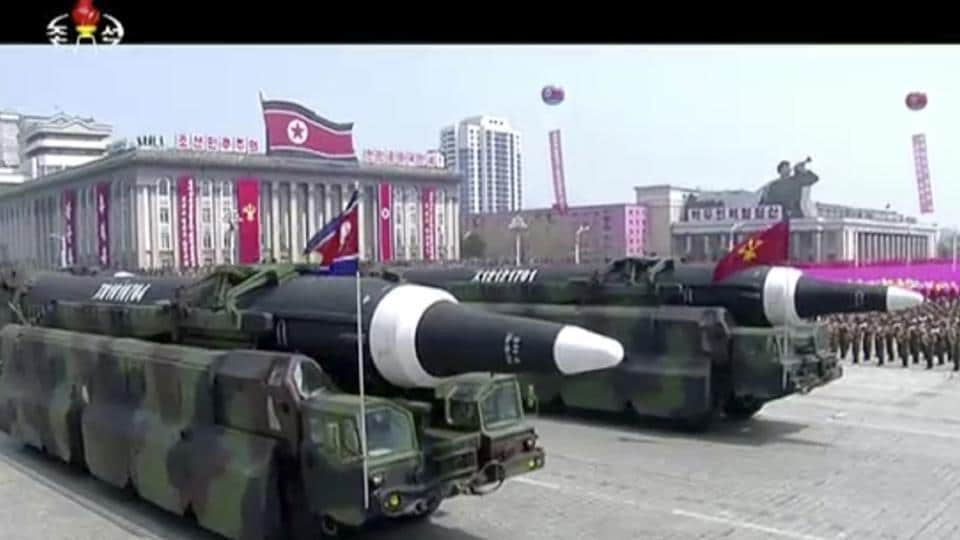 Missiles paraded at Kim Il Sung Square in Pyongyang on Saturday.