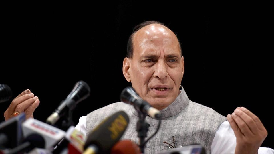 Union home minister Rajnath Singh interacts with the media in Kolkata on Friday.