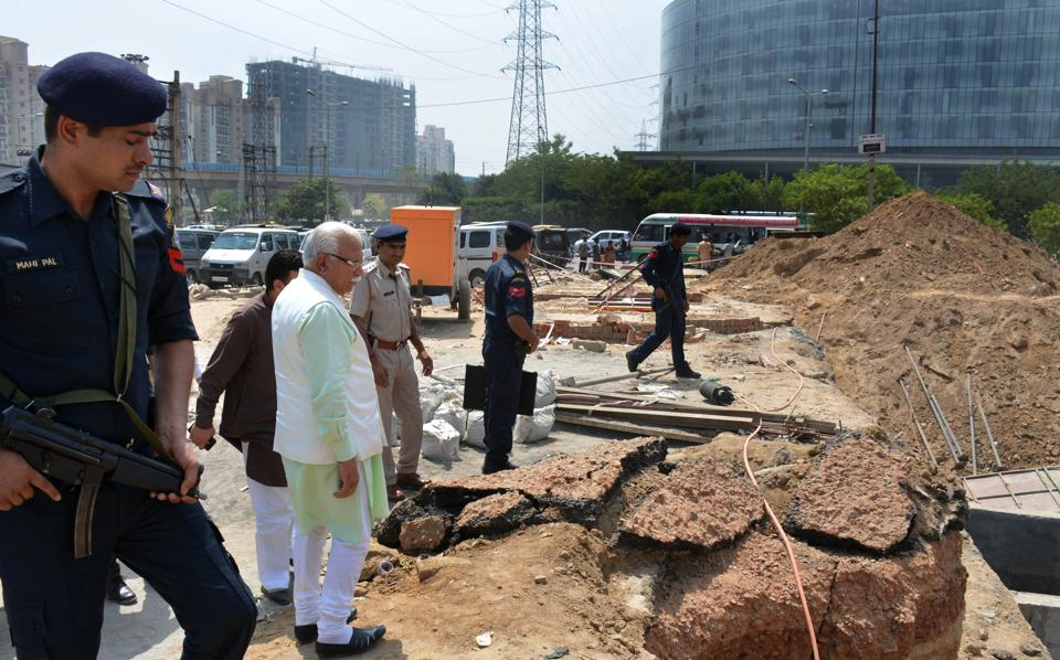 Chief Minister of Haryana Manohar Lal Khattar inspects the underpass project at Iffco Chowk in Gurgaon on Saturday.