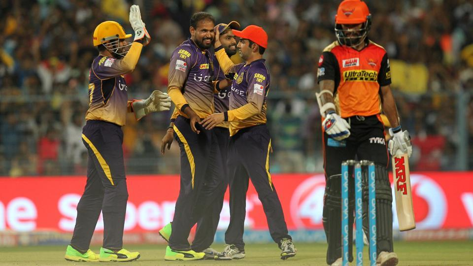 Kolkata Knight Riders players celebrate after the dismissal of Sunrisers Hyderabad's Shikhar Dhawan during an Indian Premier League (IPL) 2017 match.