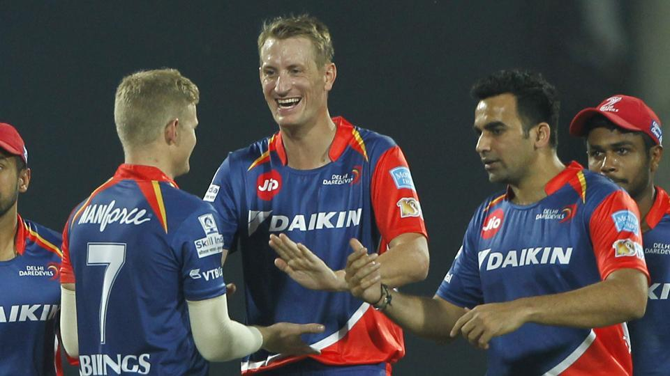 Chris Morris (centre) of Delhi Daredevils celebrates the wicket of Kings XI Punjab's Hashim Amla during their 2017 Indian Premier League match at the Feroz Shah Kotla  in Delhi on Saturday. Catch highlights of Delhi Daredevils vs Kings XI Punjab here.