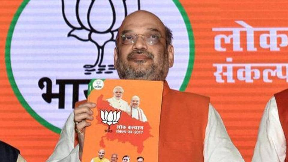 BJP president Amit Shah releasing party manifesto before the Uttar Pradesh assembly elections in Lucknow on January 28, 2017.