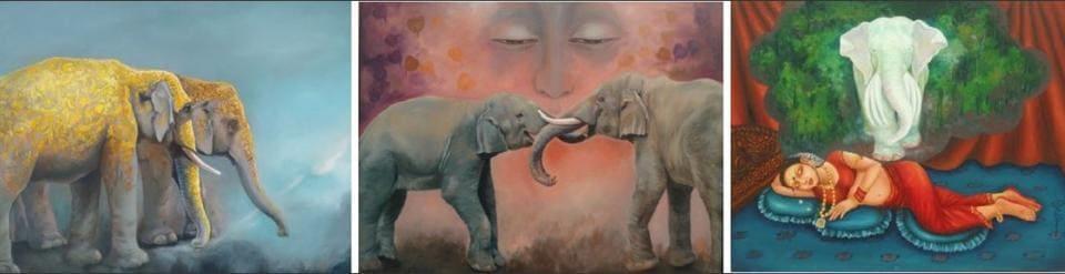 The paintings titled, 'Dream of a New Dawn', 'Milan' and 'Maya Devi ka Sapna'.