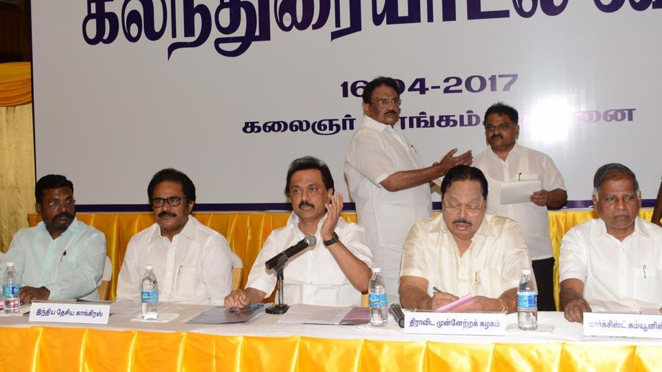 DMK's working president MKStalin (centre) at the all-party meet of Tamil Nadu's opposition parties in Chennai on Sunday.
