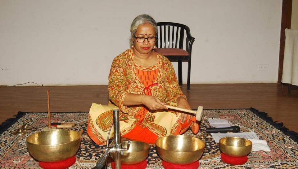 Evelet Sequeira conducts a sound bowl therapy session in Mumbai.