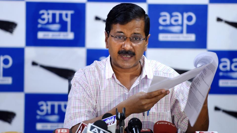 Delhi CM Arvind Kejriwal address the media after cancelled allotment of office space to the Aam Aadmi Party on DDU Marg near ITO in New Delhi.