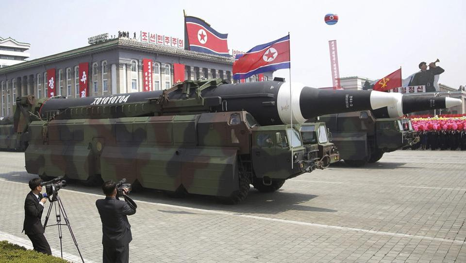 A North Korean KN-08 Intercontinental Ballistic Missile (ICMB) is paraded across Kim Il Sung Square during a military parade. (AP)