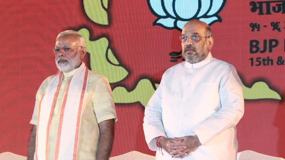 Prime Minister Narendra Modi and BJP national president Amit Shah at the party's national executive meeting in Bhubneshwar, on April 15, 2017.