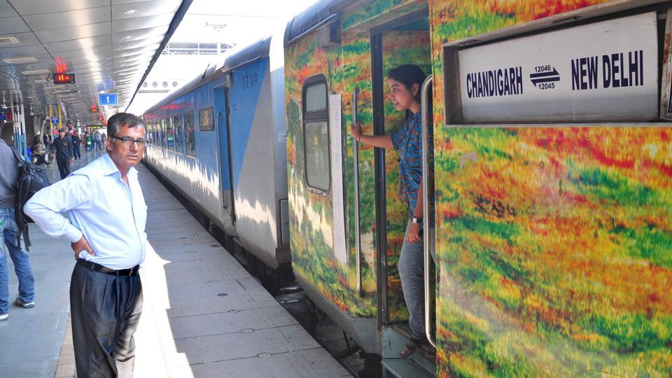 A Chandigarh-New Delhi train at the Chandigarh railway station.