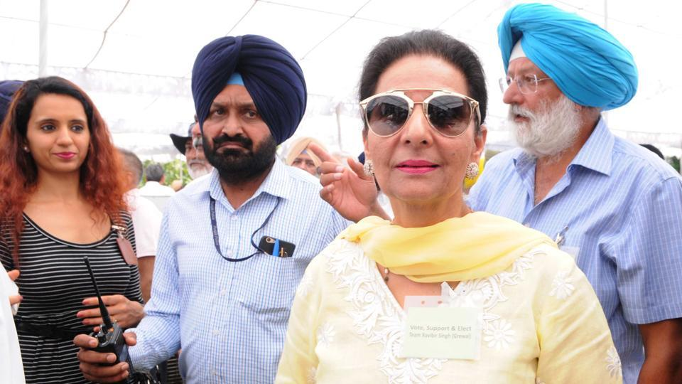 Former MP Parneet Kaur at the Golf Club election in Chandigarh on Sunday. (Keshav Singh//HT)