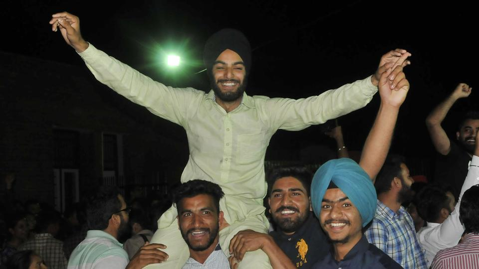 Released students with their supporters outside the Burail jail in Chandigarh on Saturday.