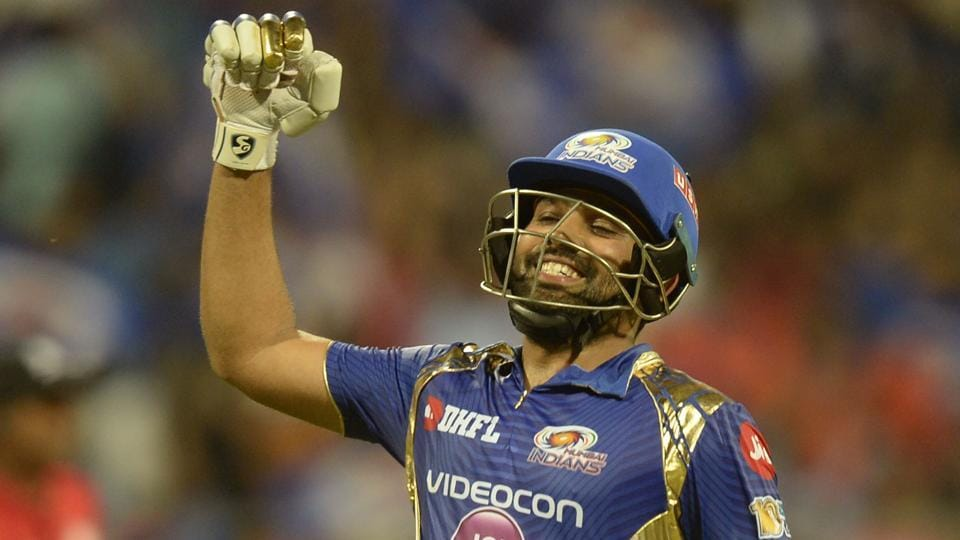 Mumbai Indians captain Rohit Sharma celebrates after winning their IPL 2017 match against Gujarat Lions. (AFP)
