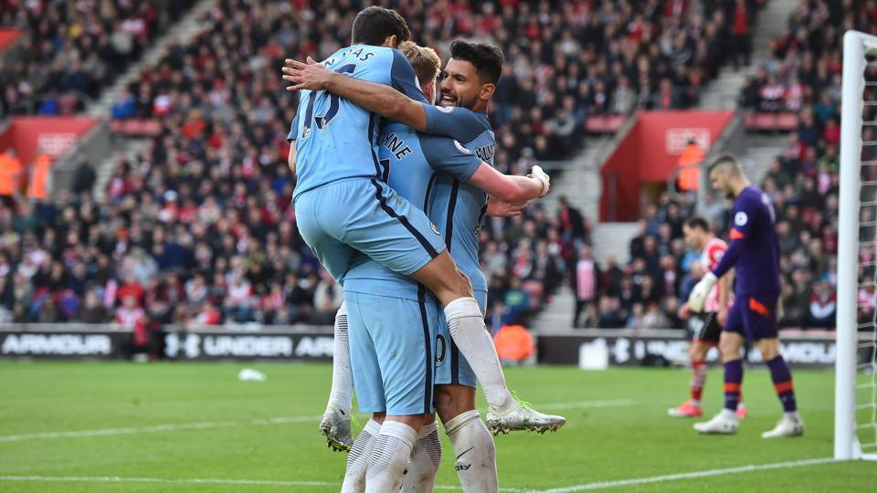 Vincent Kompany and Sergio Aguero were the stars as Manchester City moved to third spot in the Premier League with a 3-0 win over Southampton.