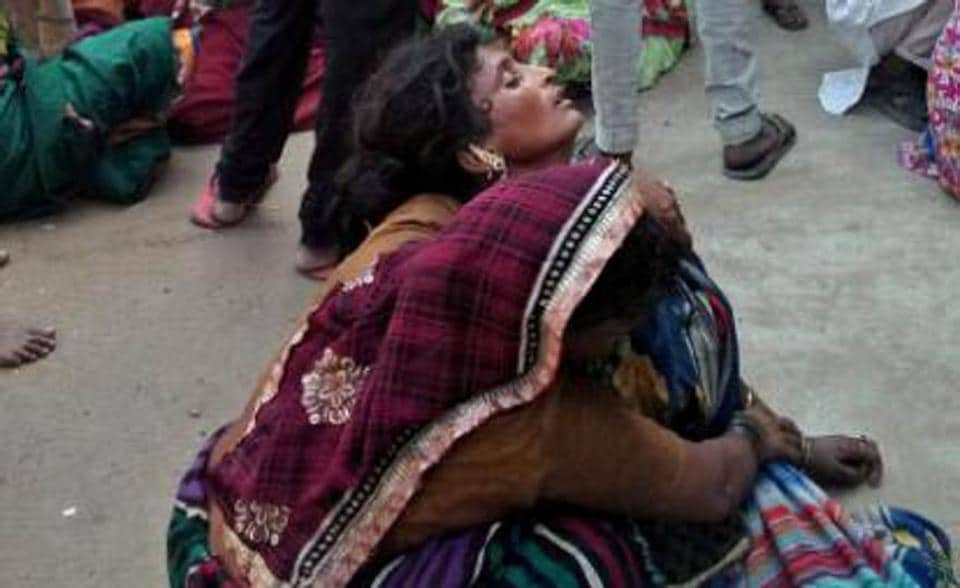 Inconsolable relatives of the couple at Giaspura flats in Ludhiana on Staurday.