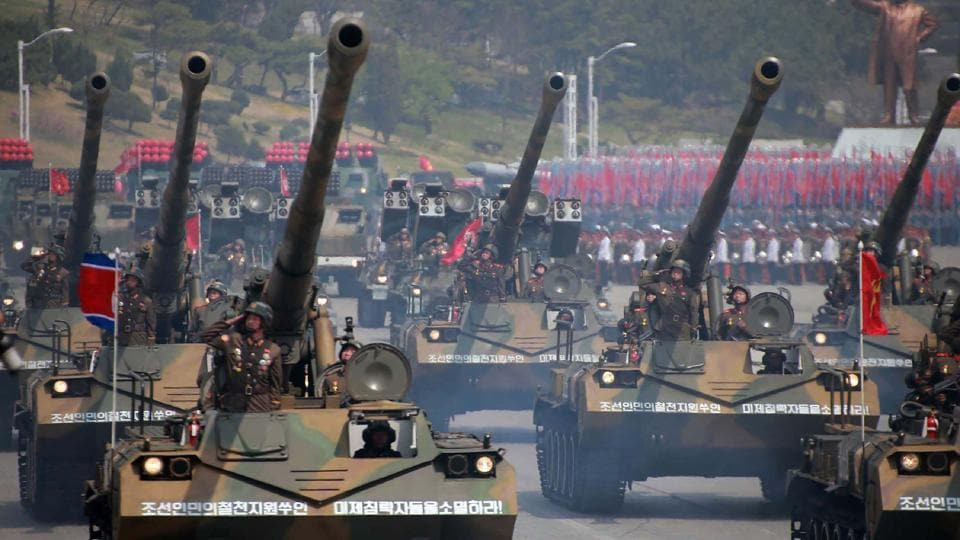 Korean People's howitzers being displayed through Kim Il-Sung square during a military parade in Pyongyang marking the 105th anniversary of the birth of late North Korean leader Kim Il-Sung. (AFP)