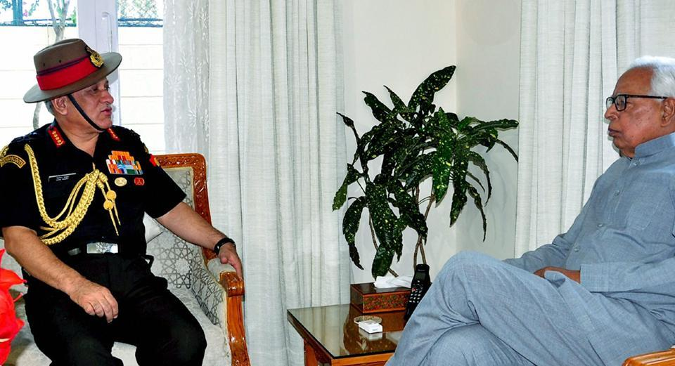 Jammu and Kashmir Governor NN Vohra interacts with Chief of Army Staff, General Bipin Rawat, at Raj Bhawan in Jammu on Saturday.