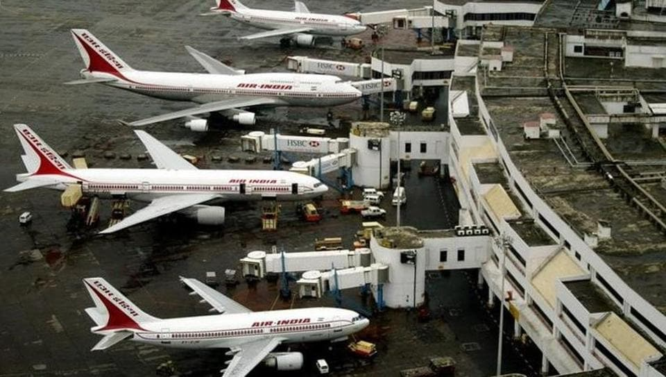 An aerial view of Air India planes parked at Mumbai airport. A total of 18,242 passengers were not allowed to board aircraft between April 2016 and February 2017.