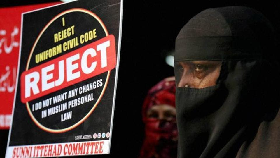 Women protest against any change in Muslim personal law  at Thane in Maharashtra.