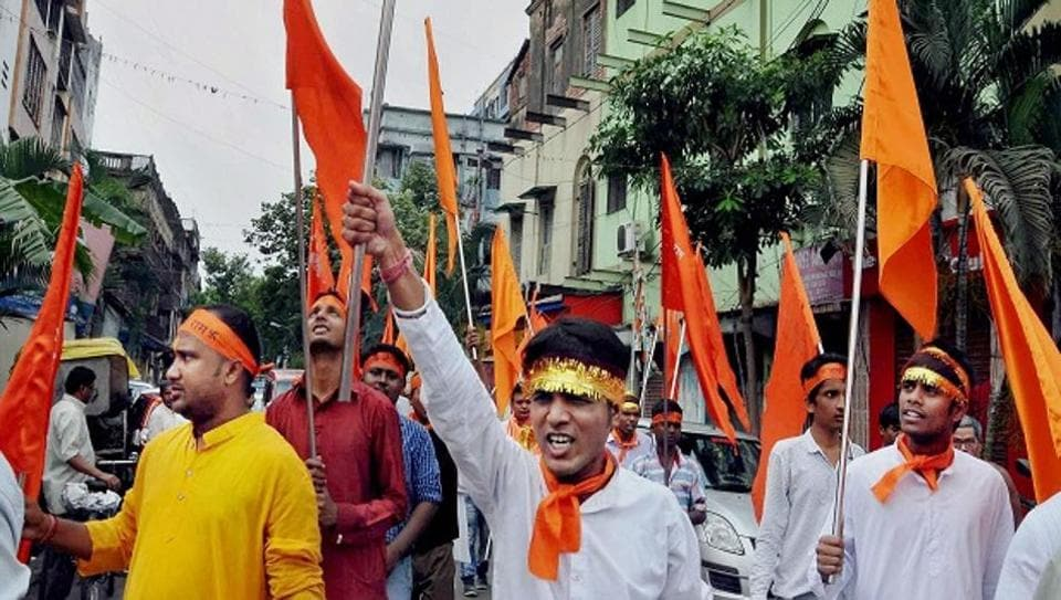 The workers of Hindu Raksha Dal (HRD) were intercepted by a police team while carrying out a procession for Hanuman Chhati (after six days of Hanuman jayanti) without permission from the administration.