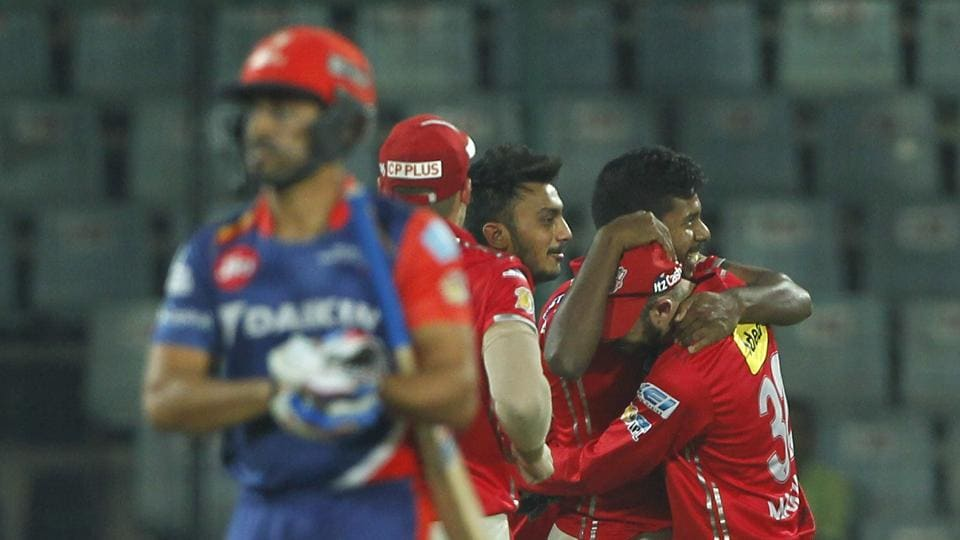 Kings XI Punjab however struck back with quick wickets, reducing Delhi Daredevils to 120/5 at one time. Here, Varun Aaron celebrates the wicket of Karun Nair. (BCCI)