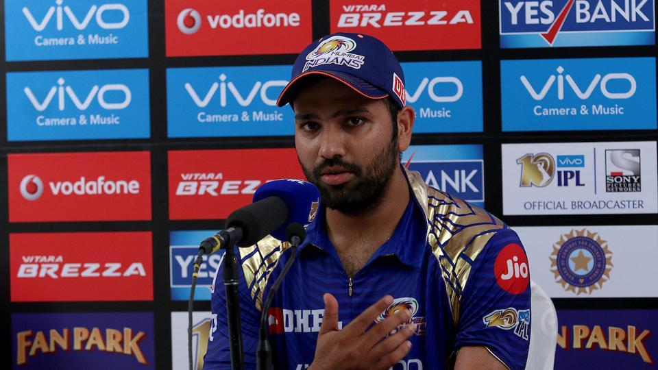Rohit Sharma at the post-match press conference after match the 2017 Indian Premier League match between Mumbai Indians and Gujarat Lions at the Wankhede Stadium in Mumbai.