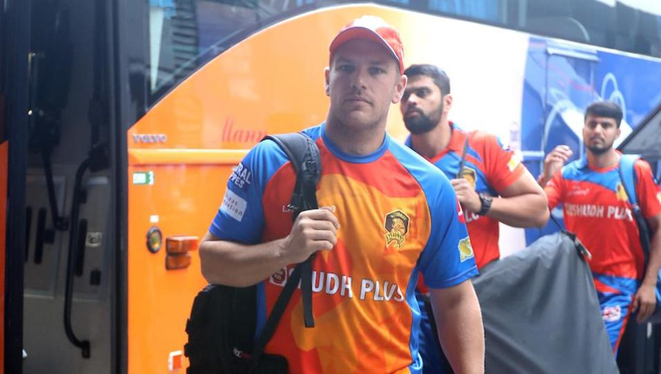 Aaron Finch of Gujarat Lions arrives for the 2017 Indian Premier League (IPL) match against Mumbai Indians at the Wankhede Stadium in Mumbai.