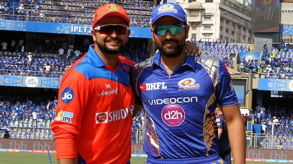 Mumbai Indians captain Rohit Sharma and Gujarat Lions captain Suresh Raina before the start of their match. (BCCI)