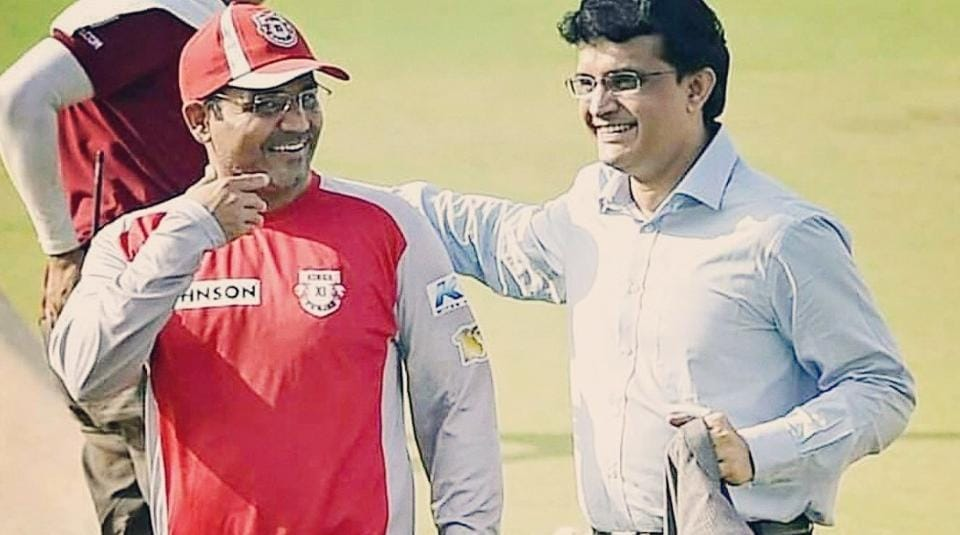 Virender Sehwag, who is currently working as a chief mentor with Kings XI Punjab in IPL 2017, shared a photo with his former teammate and ex-Indian captain Sourav Ganguly on Twitter.