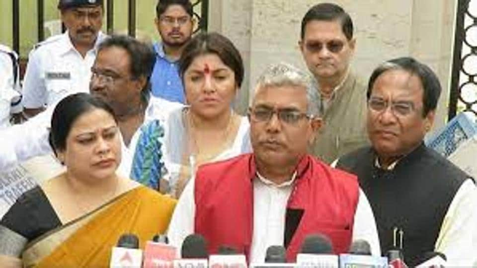 BJPstate president Dilip Ghosh (in red jacket), who is a former RSSpracharak and a hardliner, is displaying new verve after the Uttar Pradesh elections and Ram Navami celebrations and Kanthi Dakshin Assembly bypoll results in Bengal.