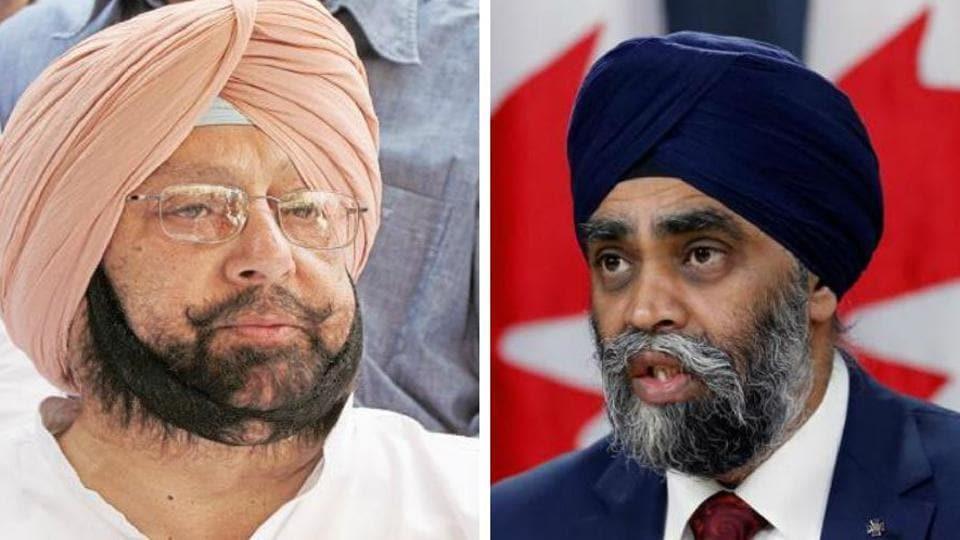 Punjab chief minister Capt Amarinder Singh and Canadian defence minister Harjit Singh Sajjan
