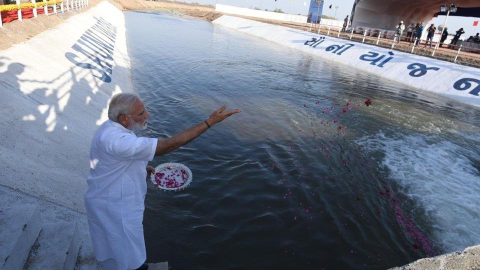 Prime Minister Narendra Modi inaugurating the Saurashtra Narmada Avtaran Irrigation project in Gujarat.