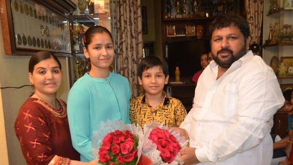 Time to celebrate: The Jaiswal family - (from left) Bhagya  Lakshmi,  Naina, Agastya and Ashwani Kumar