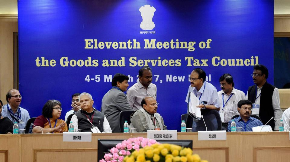 The GST Council meeting in New Delhi in March 2017.