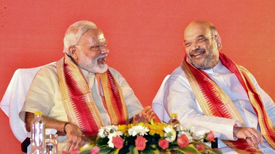 Prime Minister Narendra Modi with party president Amit Shah at BJP's National executive meet in Bhubaneswar on Saturday.