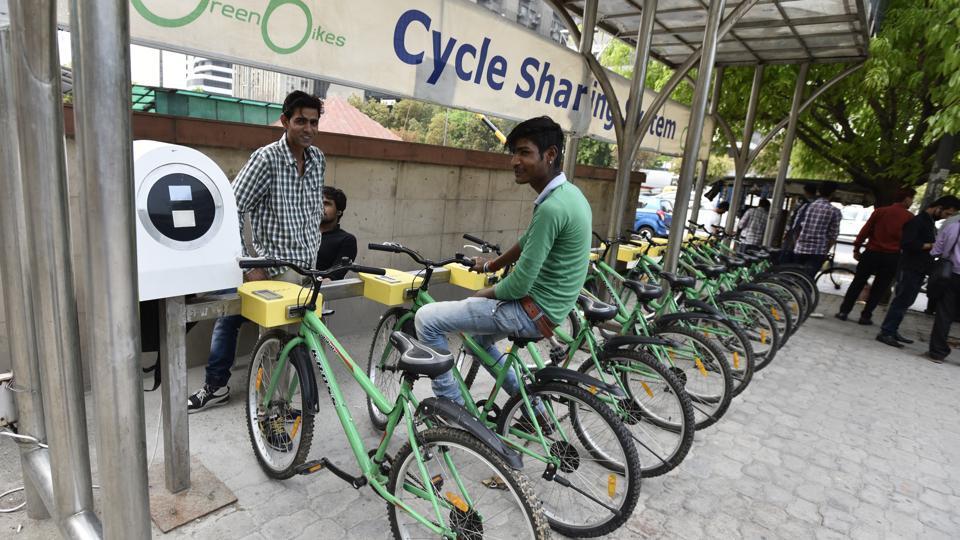 A public bicycle sharing facility outside Barakhamba Metro Station, in New Delhi.