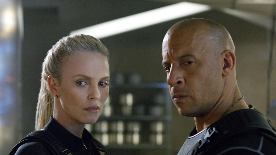 Vin Diesel and Charlize Theron in the Fate of the Furious.