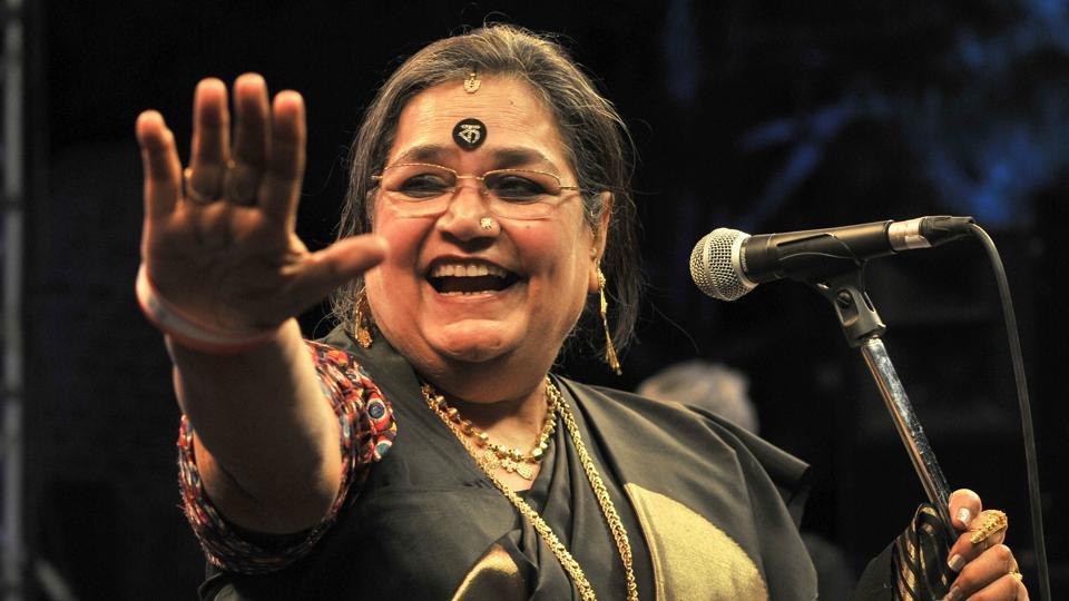 Singer Usha Uthup performing during the 2nd day of Kasauli Rhythm & Blues music festival at Kasauli on Saturday.