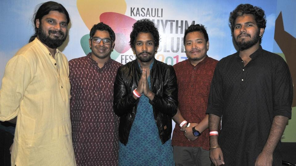 Kabir Cafe band members after the performance at Kasauli Rhythm & Blues festival on Saturday.