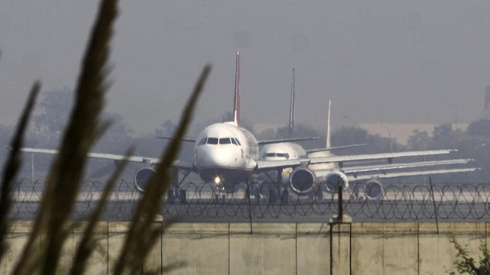 FILE PHOTO - New Delhi 17 November 2011:: HT News ::A Kingfisher Airline in front prepares for takeoff at the runway no. 11-29 at the IGI Airport in New Delhi on Thursday 17 November 2011 .Kingfisher canceled hundreds of domestic flights last week as pilots and crew called in sick after their October salaries were delayed. HT Photo by Vipin Kumar.