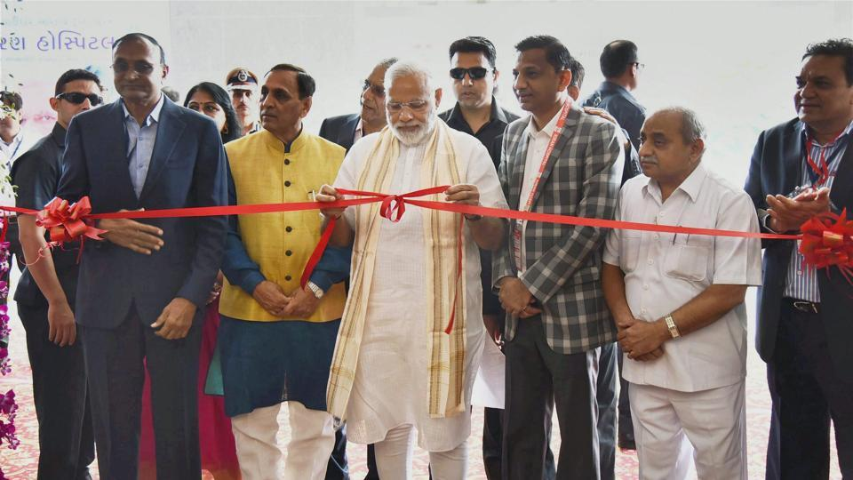 Prime Minister Narendra Modi  at the inauguration of a multispeciality hospital in Surat on Monday.