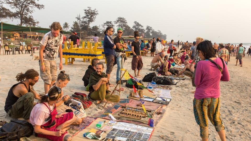Foreign tourist on a beach in Goa.