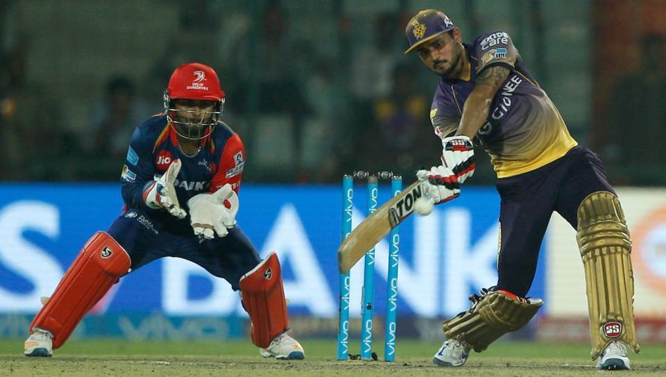 Manish Pandey's unbeaten 69 helped Kolkata Knight Riders (KKR) beat Delhi Daredevils (DD) by four wickets in a thrilling IPL 2017 clash at the Feroz Shah Kotla Stadium in Delhi. (BCCI)